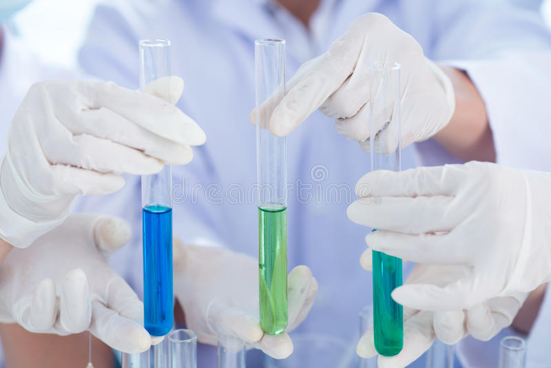 Three Test Tubes Royalty Free Stock Photography