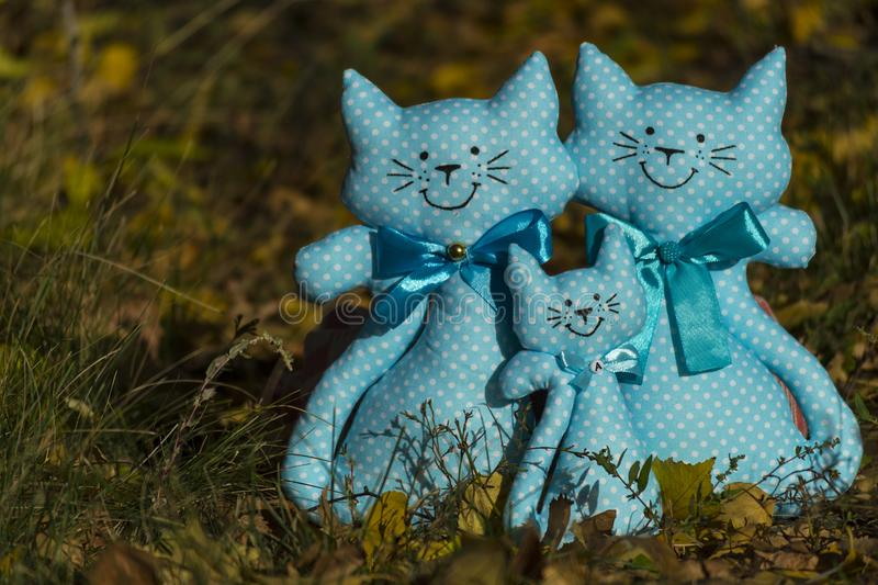 Three textile toys of a cat, sitting together on a yellow foliage, in a meadow. Family concept, child protection. Rummy background royalty free stock photos