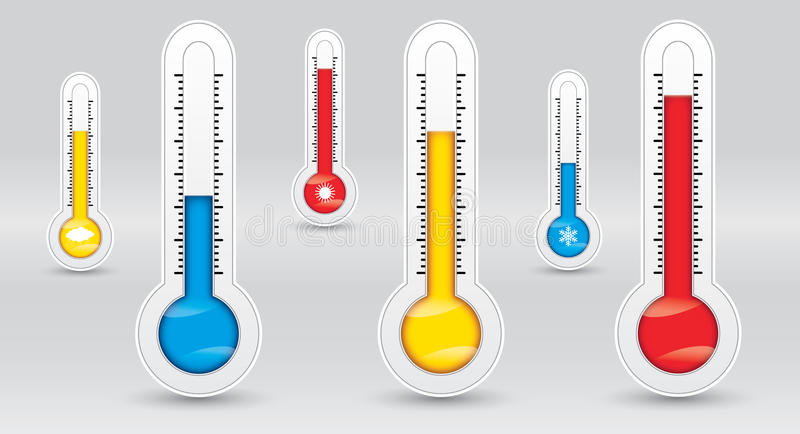 Three thermometers with different temperatures, measure diagnostic, cold, medium, hot vector illustration