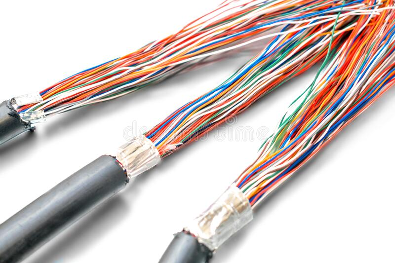 Three thick cables tangled in one big bundle of wires. Multi-colored wires Unshielded twisted pairis are on a white background. royalty free stock image