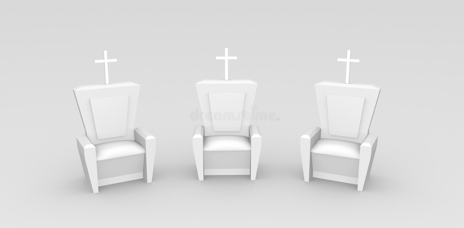 3 Three Throne With Christian Cross Illustration stock images
