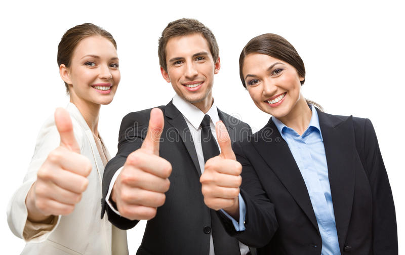 Three thumbing up business people stock photos