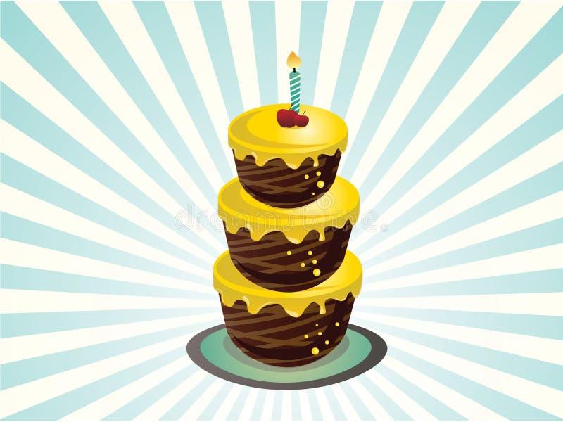 Three tier birthday cake. An illustration of a three tier birthday cake vector illustration