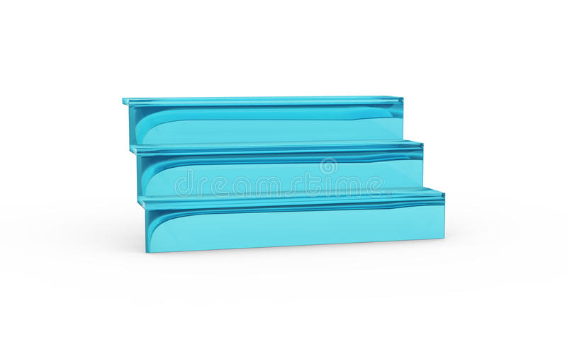 Three tier with blue glass of display stand. By 3D rendering stock illustration