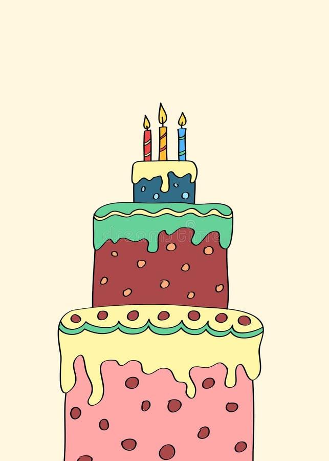 Three tier cake. Hand drawn three tier cake vector illustration