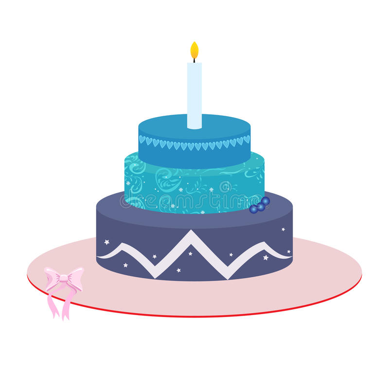 Three tier Cake illustration. Isolated on white background. Preppy design theme with hearts and patterns. Blue and pink vector illustration