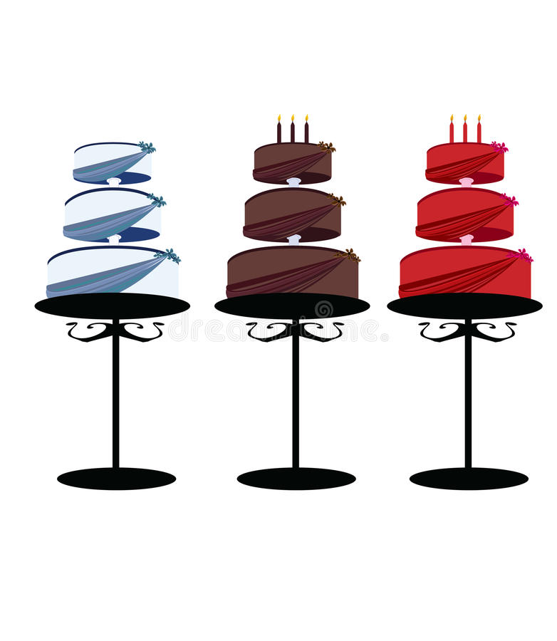 Three tier cakes on stands isolated royalty free illustration