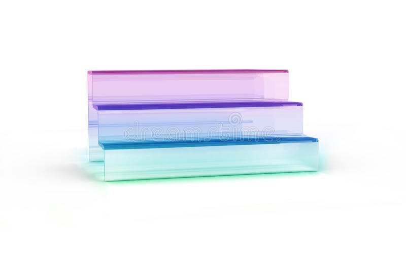 Three tier with color glass of display stand. By 3D rendering royalty free illustration