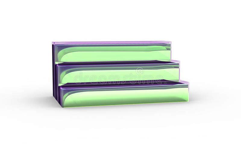 Three tier with green glass of display stand. By 3D rendering stock illustration