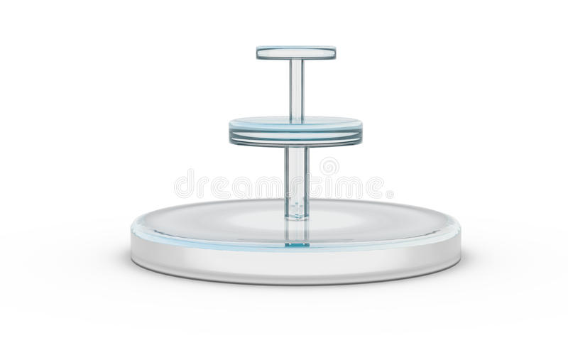 Three tier of round glass stand. By 3D rendering vector illustration