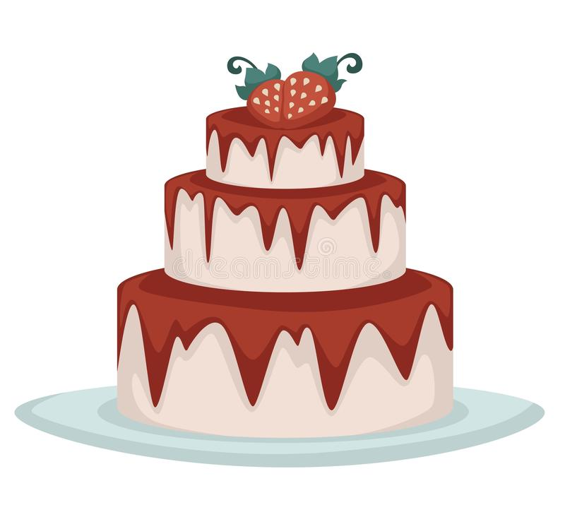 Three tier strawberry cake with pink frosting and jam. Three tier strawberry cake with pink frosting, dripping jam and fresh berries on top, colorful flat stock illustration