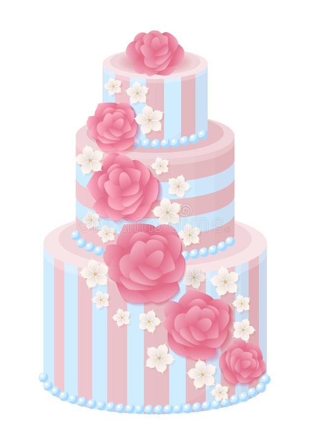 Three-Tier Wedding Cake Decorated with Glaze Roses. And sakura blossom in pastel colors isolated cartoon flat vector illustration on white background stock illustration