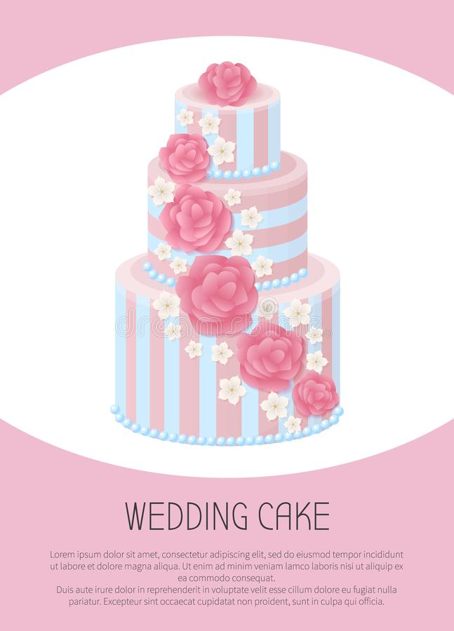 Three-Tier Wedding Cake Decorated with Glaze Roses. And sakura blossom in pastel colors isolated cartoon flat vector illustration royalty free illustration