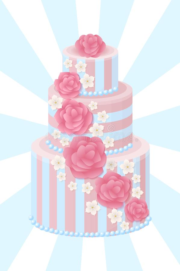 Three-Tier Wedding Cake Decorated with Glaze Roses. And sakura blossom in pastel colors isolated cartoon flat vector illustration on background with rays vector illustration