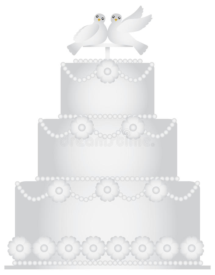Three Tier Wedding Cake with Pair of Doves. Caketopper and Floral Decoration Illustration Isolated on White Background royalty free illustration