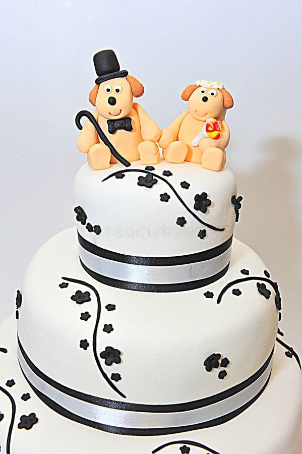 Three tier wedding theme fondant cake. Fondant cake for a wedding royalty free stock images