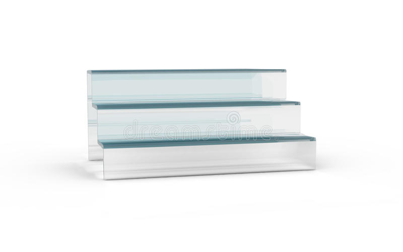 Three tier with white glass of display stand. By 3D rendering stock illustration