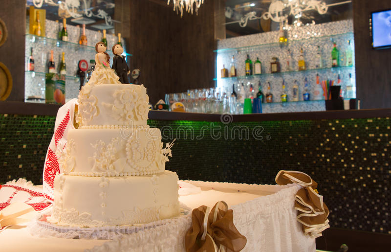 Three tiered wedding cake royalty free stock photography