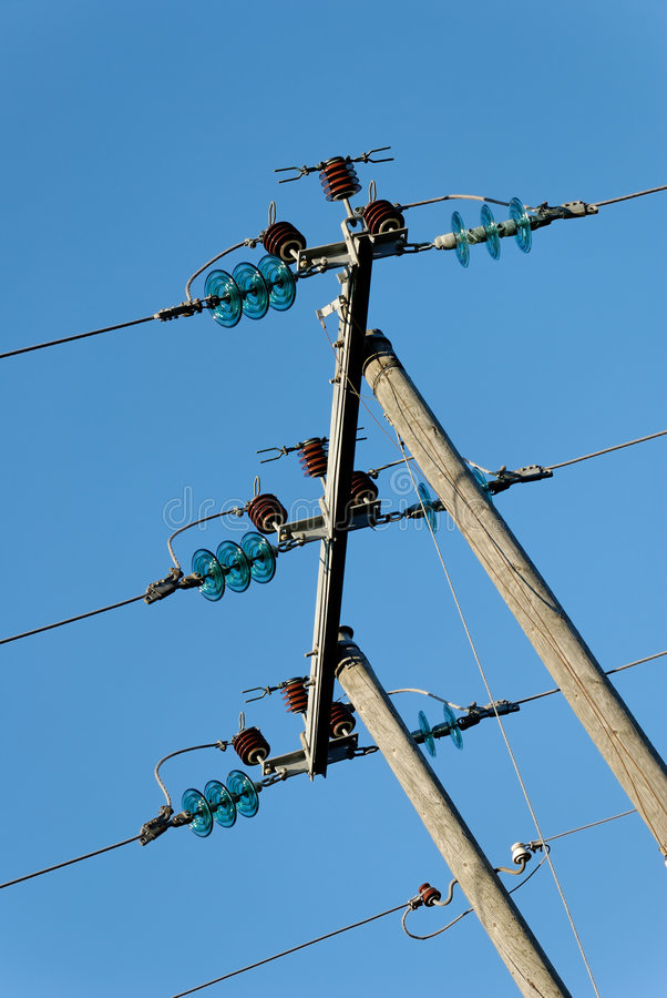 Download Three Tilted Power Lines stock image. Image of parallel - 4125327