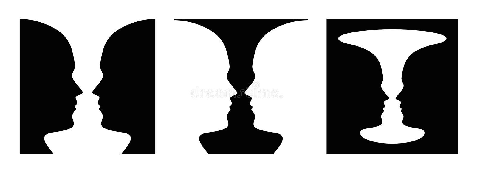 Three times figure ground perception, face and vase. Three times figure-ground perception, face and vase. Figure-ground organization. Perceptual grouping. In vector illustration