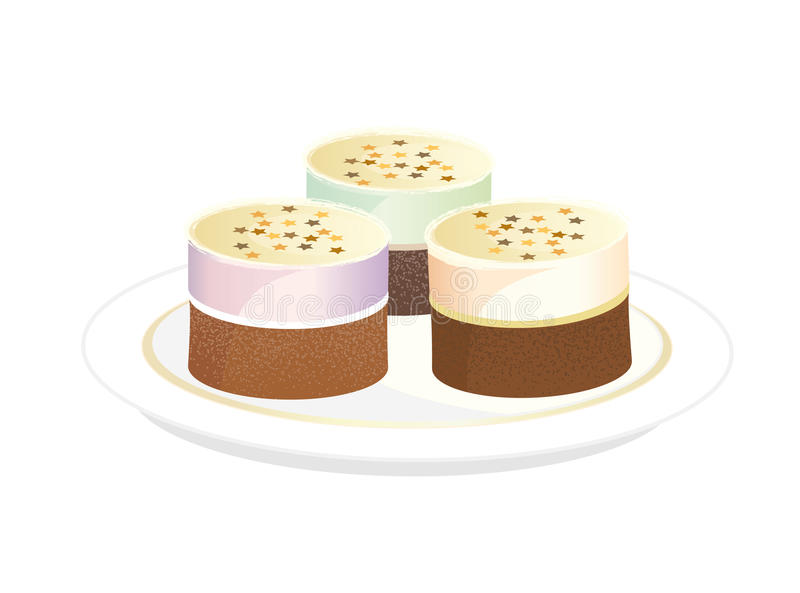 Download Three Tiramisu Cake stock illustration. Illustration of food - 17980778