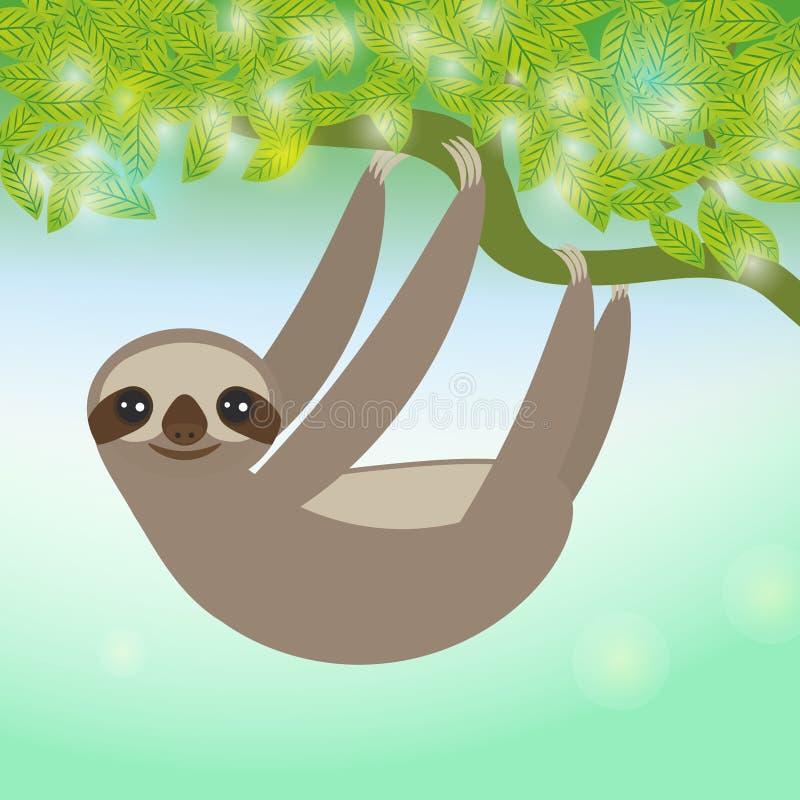 Three-toed sloth on green branch. Vector stock illustration