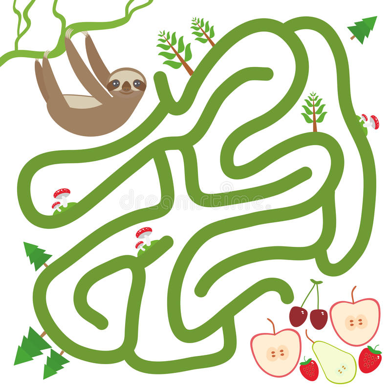 Free Three-toed Slothful On A Branch And The Apple Pear Strawberry Cherry On White Background Labyrinth Game For Preschool Children. V Royalty Free Stock Photo - 56931015