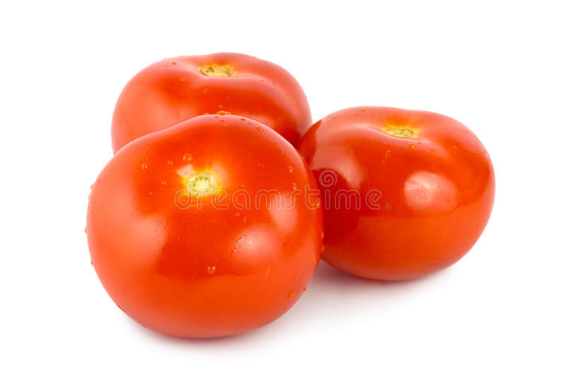 Three tomato. Isolated on white background stock photo