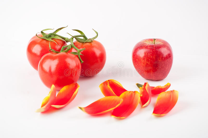 Download Three Tomatos And An Apple Stock Image - Image: 13418151