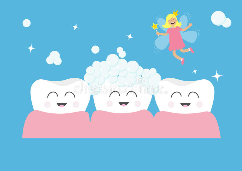 Three tooth gum icon set. Tooth fairy flying wings. Magic wand with fairy dust. Brush your teeth. Cute funny cartoon smiling chara royalty free illustration