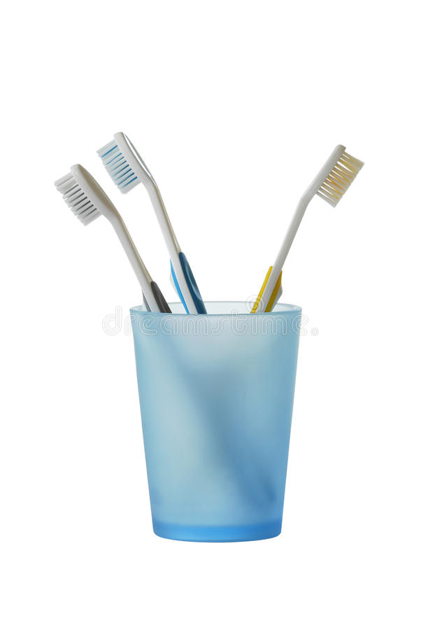 Free Three Toothbrushes In Glass Royalty Free Stock Images - 20621899