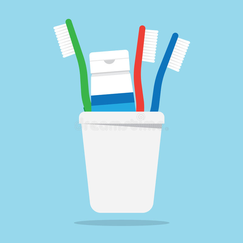 Three toothbrushes and toothpaste in a glass. Vector illustration. Toothbrush isolated on white background. Toothbrush vector icon illustration. Toothbrush royalty free illustration