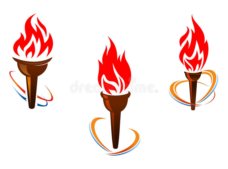 Three torches with fire flames. For sports or peace concept design vector illustration