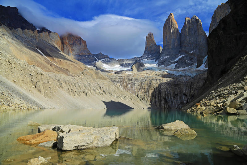 The Three Towers at Torres del Paine National Park, Patagonia royalty free stock image