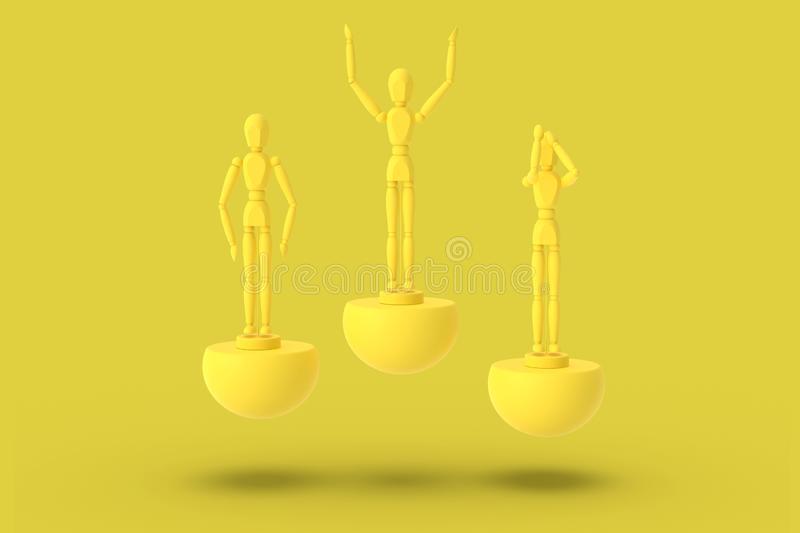 Three toy man of yellow color on a sports abstract pedestal. Minimal concept: winner, loser. 3D render vector illustration