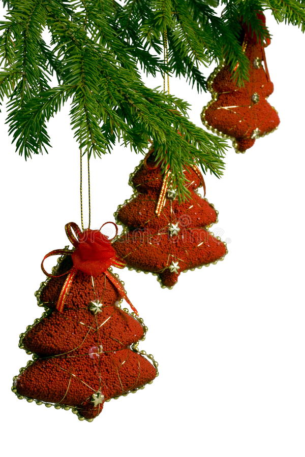 Free Three Toy Red New Year Trees On Fir-tree Stock Photo - 17262210