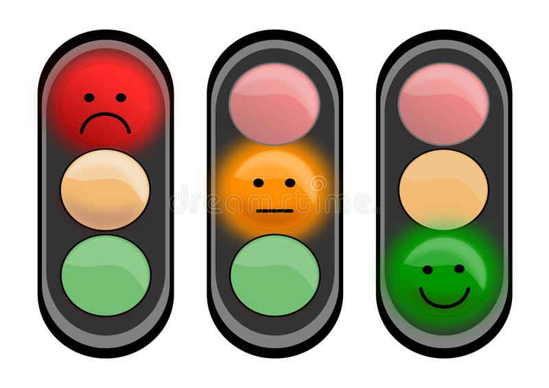 Three traffic lights with smiley faces royalty free illustration