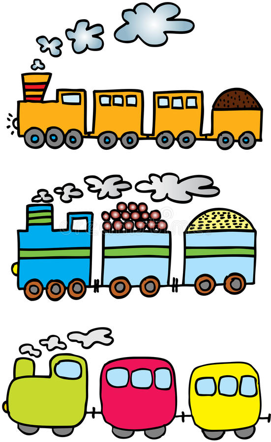 Three trains stock illustration