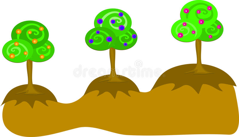 Three Trees on Mounds