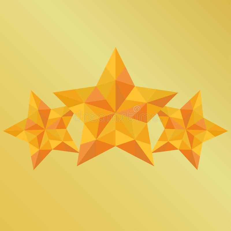 Victory three triangulation yellow star on gold background stock illustration