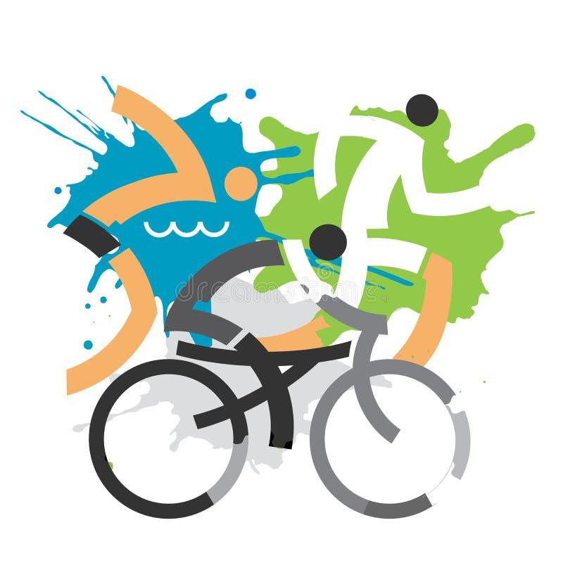 Three Triathlon grunge stylized competitors. vector illustration