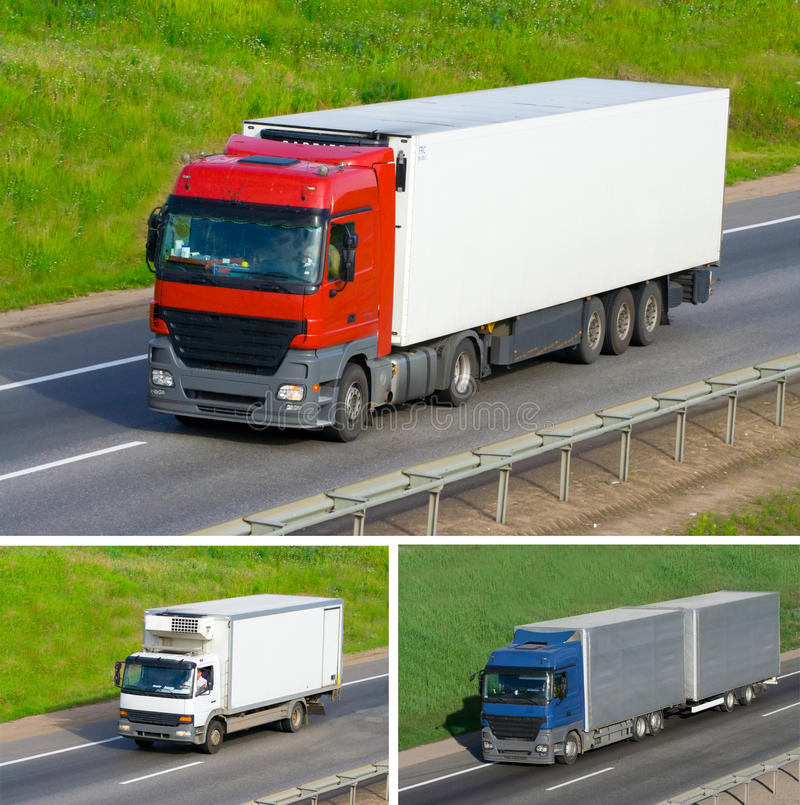 The three truck on a road stock image