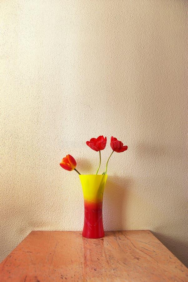 Three tulip. In vase. Decoration in room stock photos