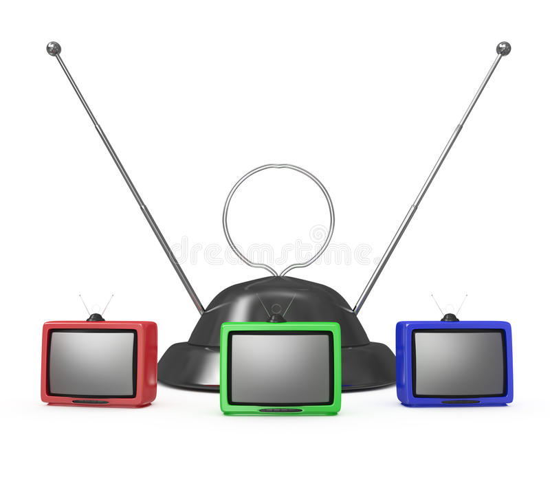 Download Three TVs and an antenna stock illustration. Illustration of television - 23217940