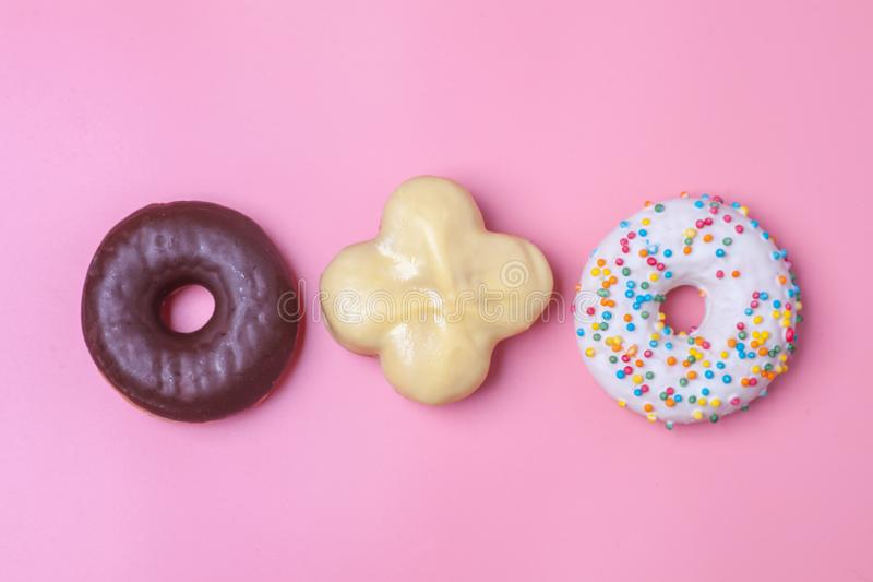 Three type of sweet buns and donuts royalty free stock image