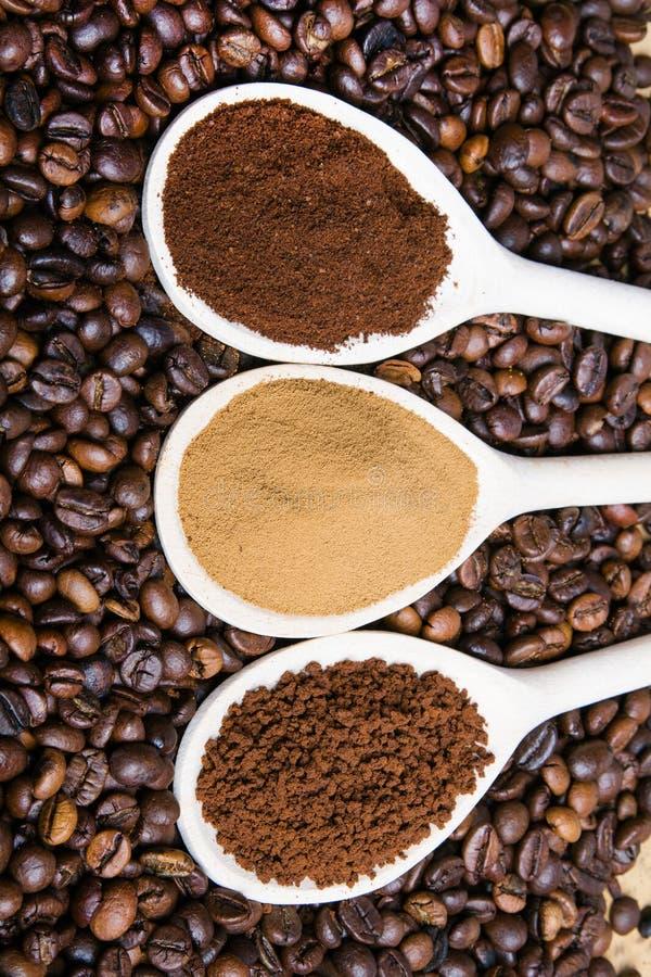 Three types of coffe stock photos
