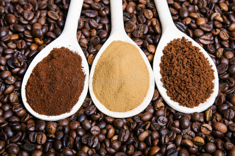 Three types of coffe stock photography
