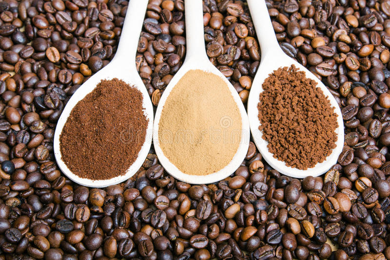 Three types of coffe royalty free stock images