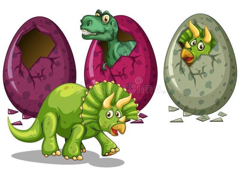 Three types of dinosaurs hatching eggs. Illustration royalty free illustration
