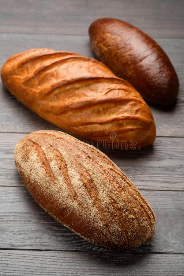 Three types of French bread stock photography